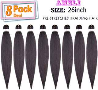Pre Stretched Braiding Hair 8 Pack Professional Yaki Itch Free Braiding Hair Hot Water Setting Easy Braid Synthetic Fiber hair (26INCH, 4#)