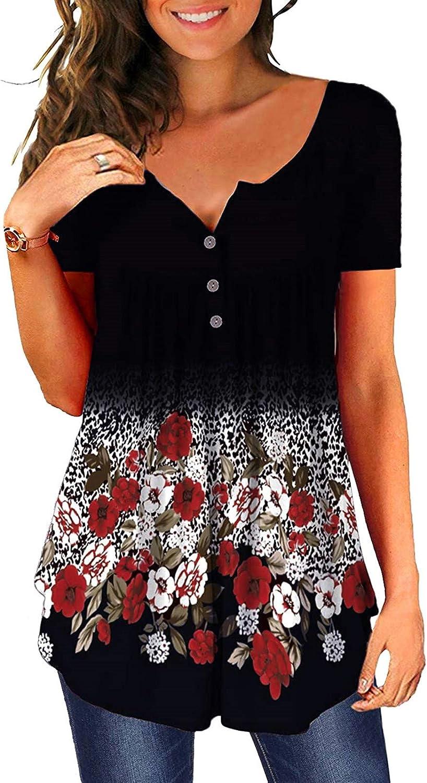 QUNANEN Fashion 特価キャンペーン Women Button Printed Pu Tops Loose Casual V-Neck 出群