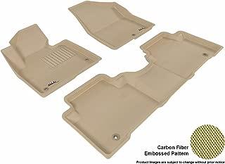 3D MAXpider Complete Set Custom Fit All-Weather Floor Mat for Select Hyundai Santa Fe Models - Kagu Rubber (Tan)