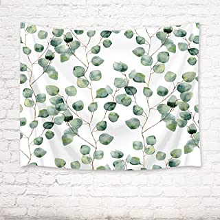 HVEST Green Leaves Tapestry Watercolor Leaf Print Tapestry Plant Natural Wall Hanging Tapestries Living Room Bedroom Dorm Home Decoration (59X39) Inch