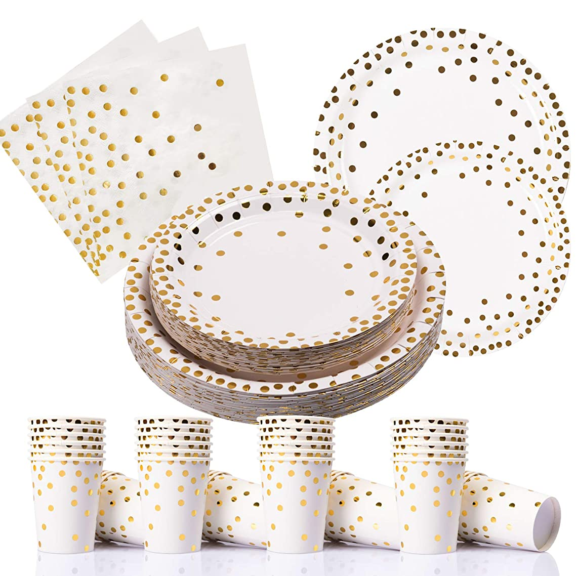 200PCS Gold Dot Disposable Paper Plates,Cups and Napkins, Tableware Sets Include 50 Dinner Plates, 50 Dessert Plates, 50 9 oz Paper Cups, 50 Luncheon Napkins, for Baby Shower Birthday Wedding Party