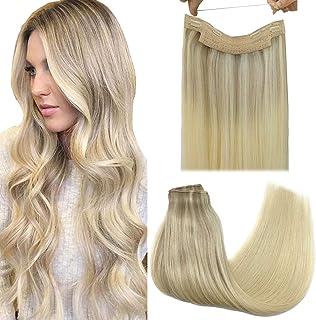 GOO GOO Halo Hair Extensions Human Hair Ombre Ash Blonde to Golden Blonde Mixed Platinum Blonde 100g Flip Extensions Hidde...