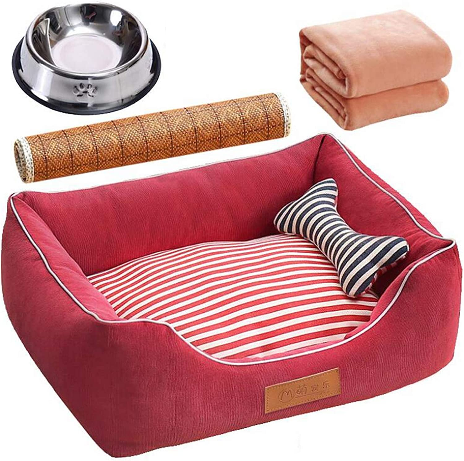 CUUYQ Nonslip Deluxe pet beds, Dog & cat beds Soft pad Cozy Pet cushion Washable Pet bed For dogs & cats,color B_L