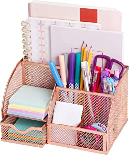 $24 » All4You Rose Gold Desk Organizer - Desk Accessory for Women to Keep Office Supplies, Rose Gold Stapler and Pen Organizer. Perfect Solution for Small Supplies, Paper, Arts & Crafts, and Makeup