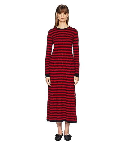 Sonia Rykiel Cashmere Ziggy Stripe Long Sleeve Dress (Red/Blue) Women