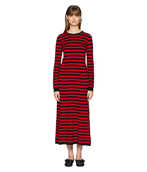 Sonia Rykiel Cashmere Ziggy Stripe Long Sleeve Dress