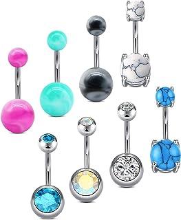 MODRSA 14G Piercing Ombligo Acero Inoxidable Piercing Ombligo Diamante 10MM Joyería Piercing del Cuerpo Mujeres Hombres