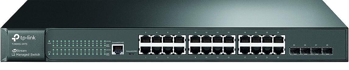 ハッピー愛国的な光景TP-Link JetStream スイッチングハブ 24ポート Giga対応  L2管理機能付 ラックマウント4 SFP スロット T2600G-28TS