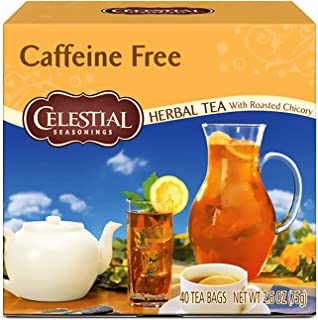 Celestial Seasonings Herbal Tea, Caffeine Free with Roasted Chicory, 40 Count (Pack of 6)