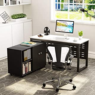 Tribesigns 55 inch Computer Desk,L-Shaped Desk with Cabinet Storage, Office Writing Desk with Bookcase &Printer Stand for Home Offic