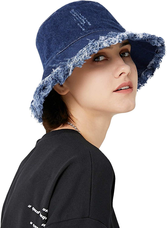 DOCILA Denim Bucket Hats for Women Men Casual Jean Fisherman Cap Packable Outdoor Sun Hats