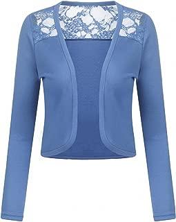 Women's Long Sleeve Bolero Shrug Lace Cropped Open Front Cardigan Blazer