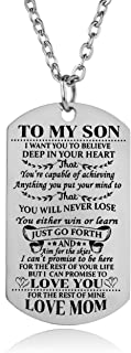 YeeQin Son Necklace Love Son Dog Tag Believe Inspirational Gifts from Dad Mom Birthday Graduation for Son