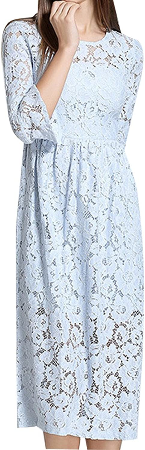 Fall Hollowed Out Slim Seven Point Sleeves Lace Flared Sleeves Long Skirts,blueeS