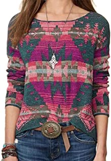 GAGA Women's Round Neck Pattern Print Long Sleeve Knit Loose Casual Tops T Shirts