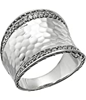John Hardy - Classic Chain Hammered Diamond Pave Small Saddle Ring