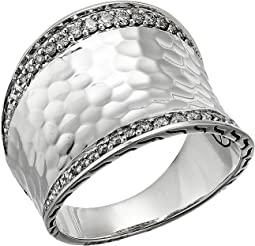 Classic Chain Hammered Diamond Pave Small Saddle Ring