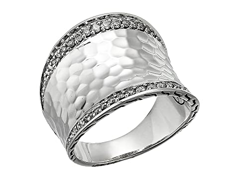 John Hardy Classic Chain Hammered Diamond Pave Small Saddle Ring
