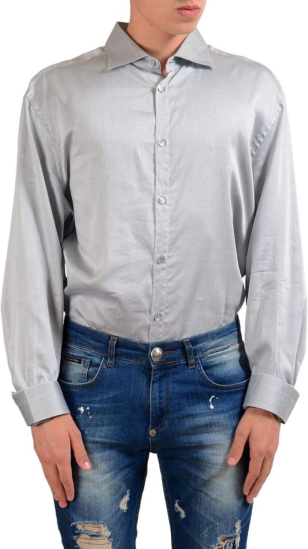 Versace Men's Gray Long Sleeve Dress Shirt US 17.5 IT 44