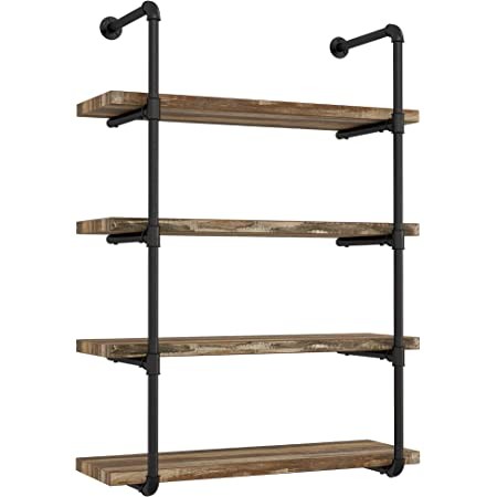 Amazon Com Ironck Wall Shelf 4 Tier Pipe Shelf Wood And Metal Frame Industrial Shelving For Kitchen Bedroom Living Room Home Decor Rustic Wall Decor Furniture Decor