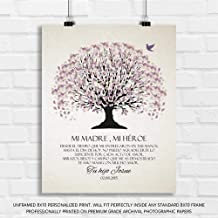 Personalized Gift for Mother in Spanish Purple Canopy on Off White Background Thank You Gift for Mom - 8x10 Unframed Paper Art Print