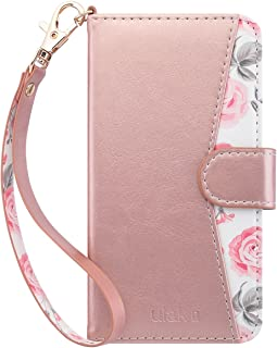 ULAK Flip Wallet Case for iPhone 6S & 6 with Kickstand Card Holder ID Slot and Hand Strap Shockproof Cover for Women for Apple iPhone 6s/6 4.7, Rose Gold Floral
