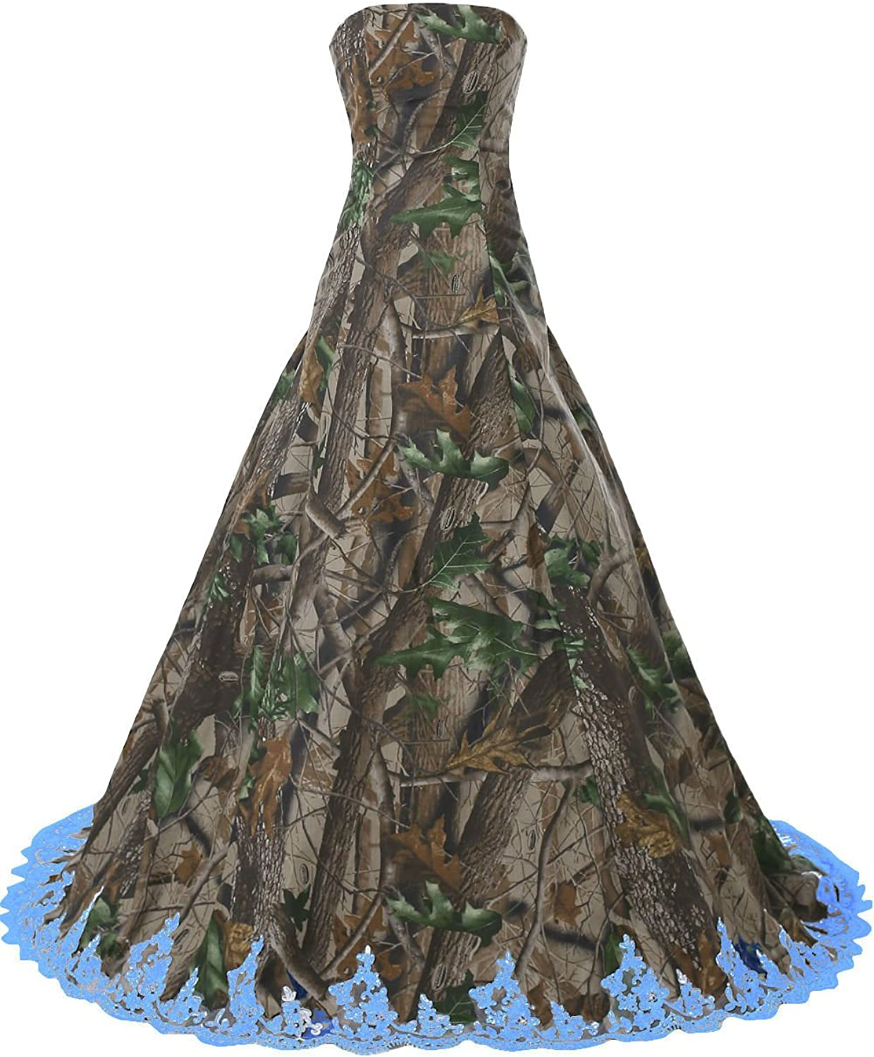 DINGZAN Camo and Lace Wedding Dresses Bridal Reception Prom Ball Gowns