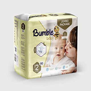 Bumble Baby Diapers Size 2 (3-6 kg) 80 Counts, Jumbo Pack, Drip Proof Barriers, Textile Surfaces, Absorbing Particles, Ult...