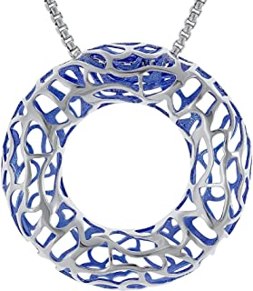 Amorucci Rhodium Plated Electroplating Jacinta Sterling Silver Pendant with Chain, Round Pendant Necklace,Ideal Women.