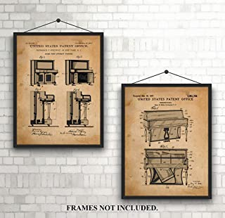Original Upright Piano - Patent Prints from 1907 & 1937 - Steinway - Unframed 8 x 10 Prints - Gift for Musician, Classroom, Office, Den, Business