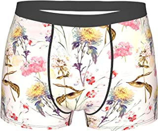 Mens Boxer Briefs Flower Underwear Breathable Boxer Briefs