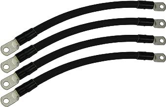 Temco 4 LOT 4/0 Gauge 6in - 5/16 in Hole Sizes Black Solar Battery Cables Power AWG Solar Inverter Golf Cart Car Glue Sealed