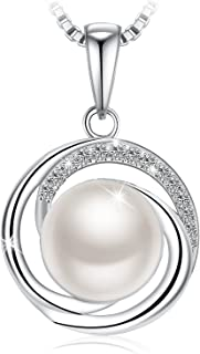 Freshwater Cultured Pearl Pendant Necklace with 925 Sterling Silver and 5A Cubic Zirconia, 18