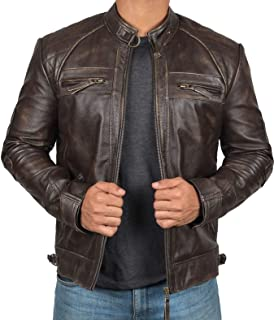 Blingsoul Mens Leather Jacket - Distressed Brown Motorcycle Leather Jacket for Men