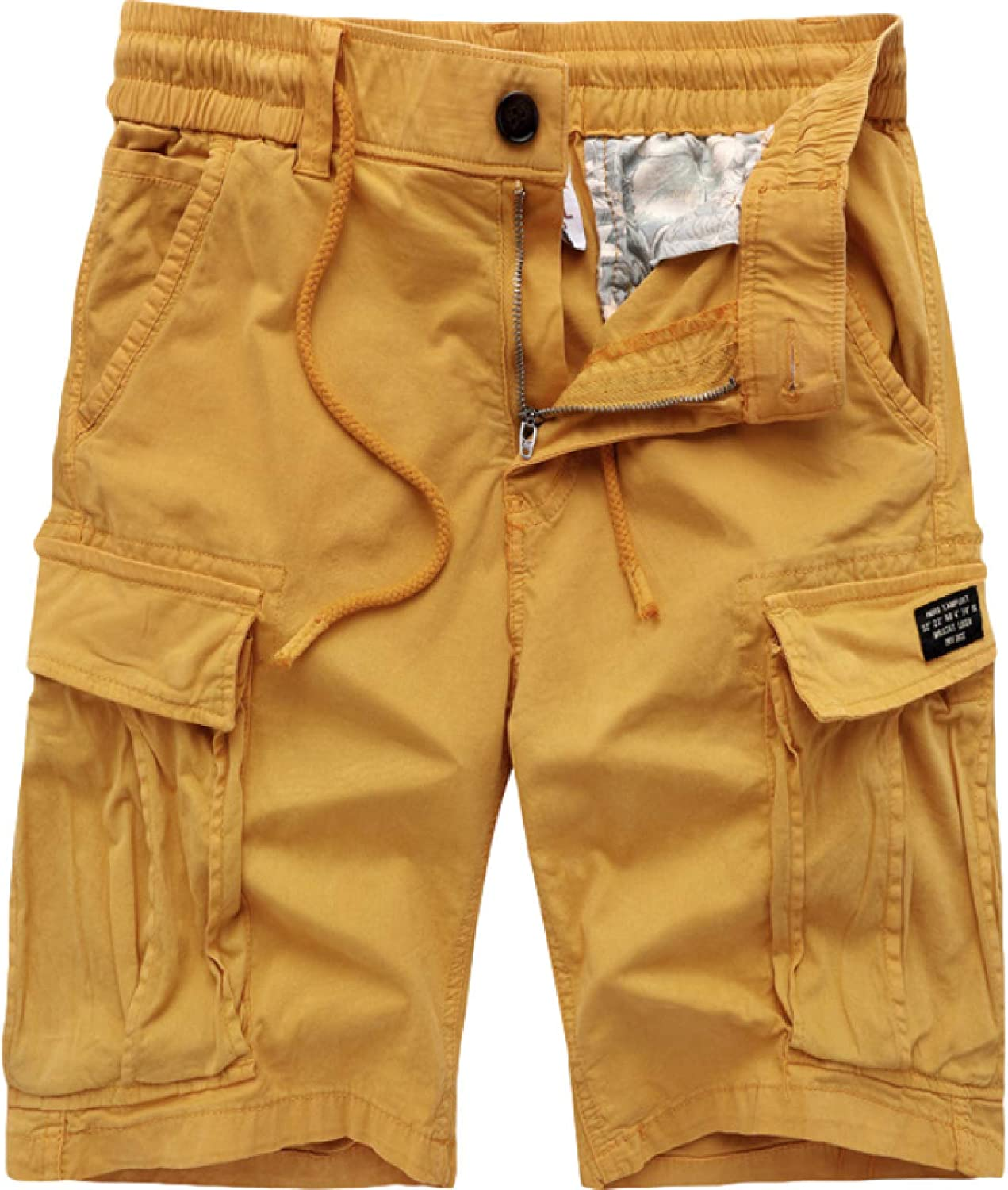Katenyl Men's Sports Shorts Fashion Trend Stitching Multi-Pocket Loose Solid Color