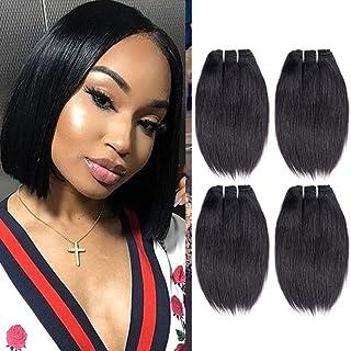 "Liang Dian 8A Brazilian Straight Hair 4 Bundles (8"" 8"" 8"" 8"") Brazilian Virgin Straight Human Hair 50g/Bundle Short Hair Extensions Natural Black"