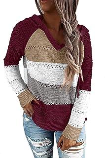 SimpleFun Women's Lightweight Color Block Hooded Sweaters Drawstring Hoodies Pullover Sweatshirts Tops