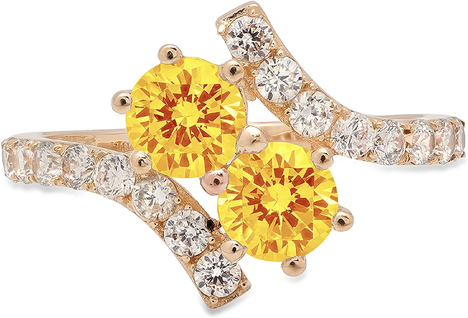 1.98 ct Round Cut 2 stone love Solitaire Genuine Flawless Natural Yellow Citrine Gemstone Engagement Promise Statement Anniversary Bridal Wedding Accent Ring Solid 18K Yellow Gold