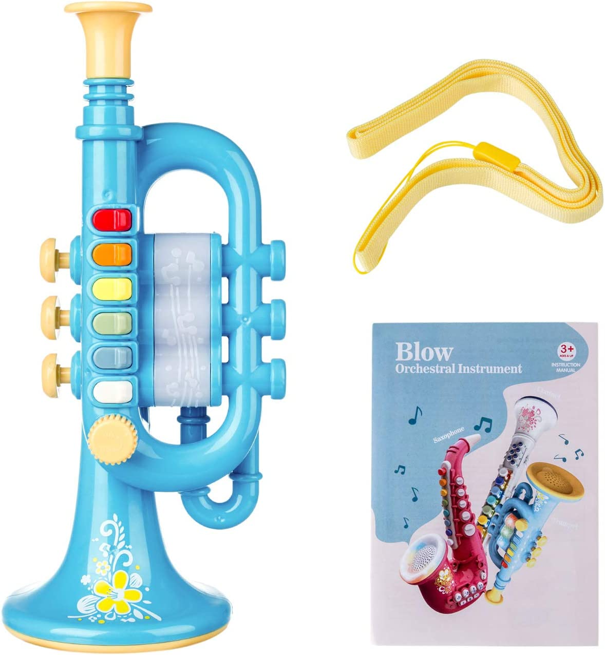 Blue XSHION Toy Trumpet Horn for Kids Mini Trumpet Instrument Musical Instrument Toy for Toddler Girls Boys