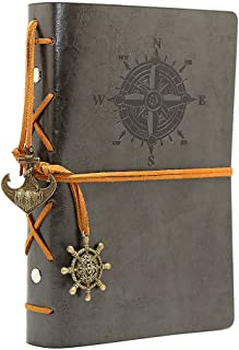 Leather Writing Journal Notebook, EvZ 7 Inches Vintage Nautical Spiral Blank String Diary Notepad Sketchbook Travel to Write in, Unlined Paper, Retro Pendants, Classic Embossed, Grey