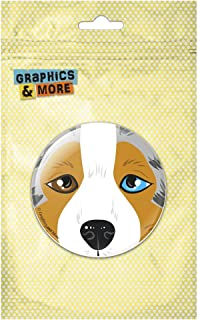 Australian Shepherd Face Pet Dog Pinback Button Pin Badge