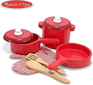 Melissa & Doug 儿童过家家游戏 豪华木制厨房配件套装 - 锅碗瓢盆(8个)