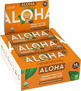 ALOHA Organic Plant Based Protein Bars |Peanut Butter Chocolate Chip | 12 Count, 1.9oz Bars | Vegan, Low Sugar, Gluten Fre...