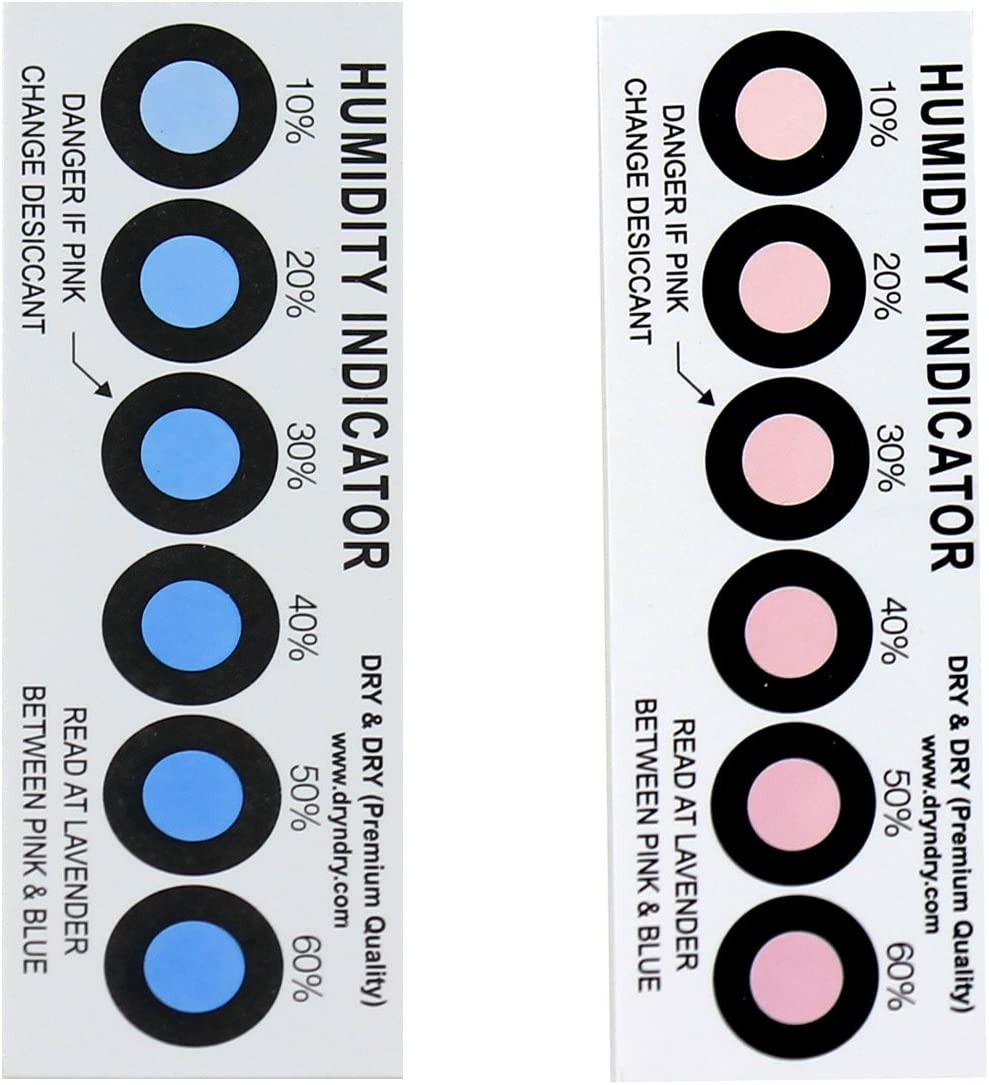 Dry SEAL limited product Humidity Indicator Cards Store 250 Reusable 6 Pack 10-60% -