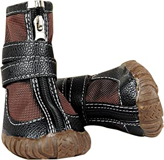FLAdorepet Large Big Dog PU Leather Sport Shoes Winter Waterproof Pet Dog Puppy Martin Boots Non-Slip Pitbull Golden Retriever Rain Shoes