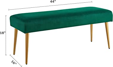 """Ball & Cast Upholstered Velvet Bench 16"""" W x 44"""" D x 18"""" H Emerald,Golden Powder Coating Legs Set of 1"""