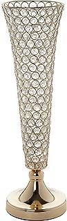 Efavormart Set of 2 Tall Gold Beaded Crystals Trumpet Floral Vase Wedding Centerpiece 23