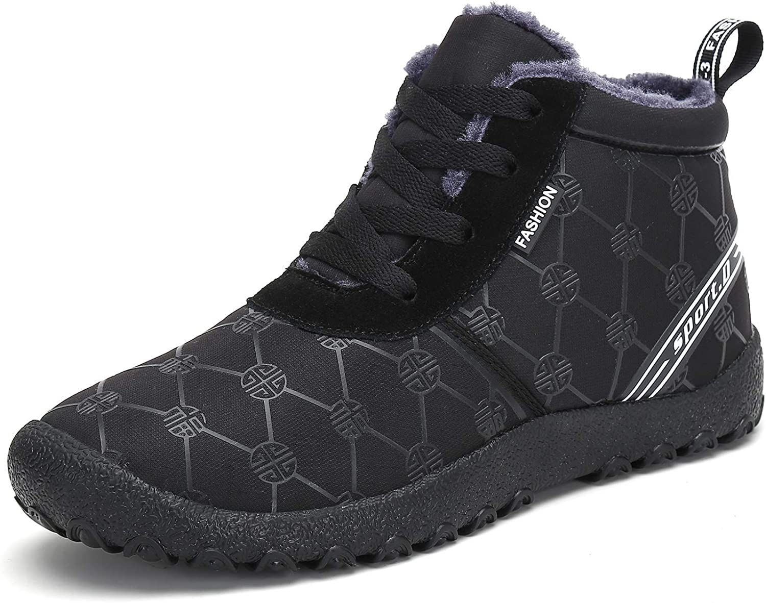 Voovix Women's Snow Boots Winter Warm Fur Lined Ankle Booties Lightweight Non Slip Outdoor shoes(Black,36)