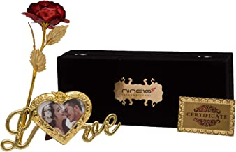 NINE10 Red Rose 24K Gold Foil/Gold Plated Rose with Exclusive Velvet Gift Box and Heart Shape Photo Frame Stand