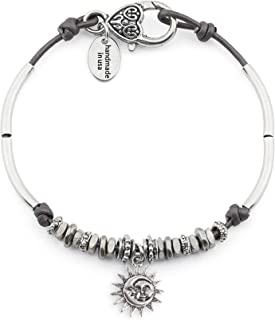 Lola Anklet w Moon Sun Charm in Metallic Gunmetal Leather Silver Plate Crescents